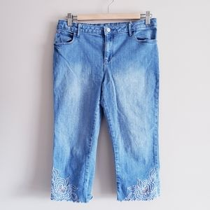 GAP KIDS | straight crop Jean's w/ floral design